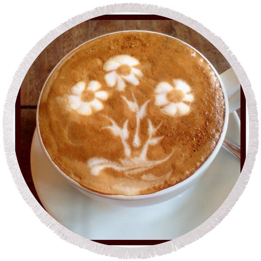 Java Round Beach Towel featuring the photograph Flower Bouquet Latte Art by Susan Garren