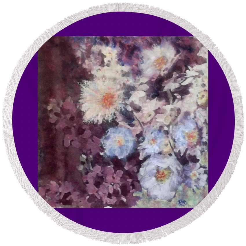 Flowers Round Beach Towel featuring the painting Flower Burst by Richard James Digance