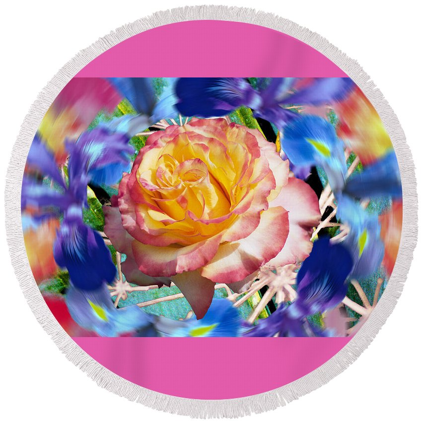 Flowers Round Beach Towel featuring the digital art Flower Dance 2 by Lisa Yount