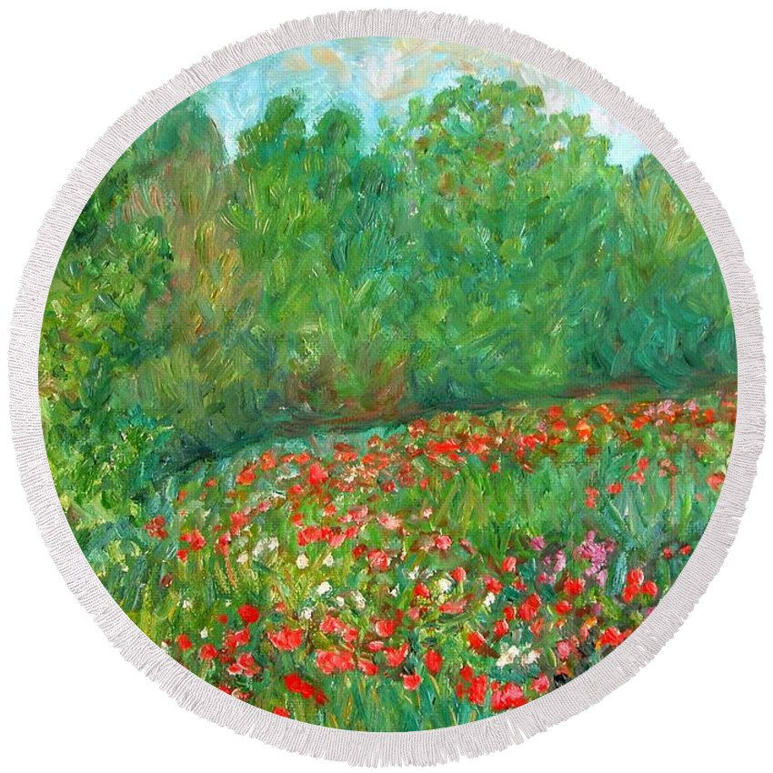 Blue Ridge Paintings Round Beach Towel featuring the painting Flower Field by Kendall Kessler