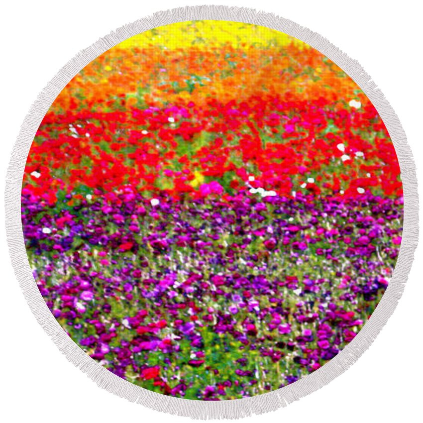 Flower Round Beach Towel featuring the photograph Flower Fields by Jerome Stumphauzer