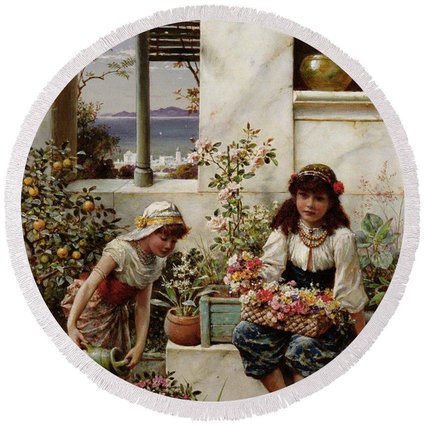 Flower Girls Round Beach Towel featuring the painting Flower Girls by William Stephen Coleman