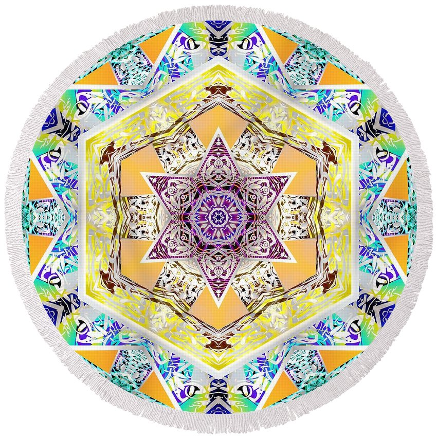 Sacredlife Mandalas Round Beach Towel featuring the digital art Flower Goddess by Derek Gedney