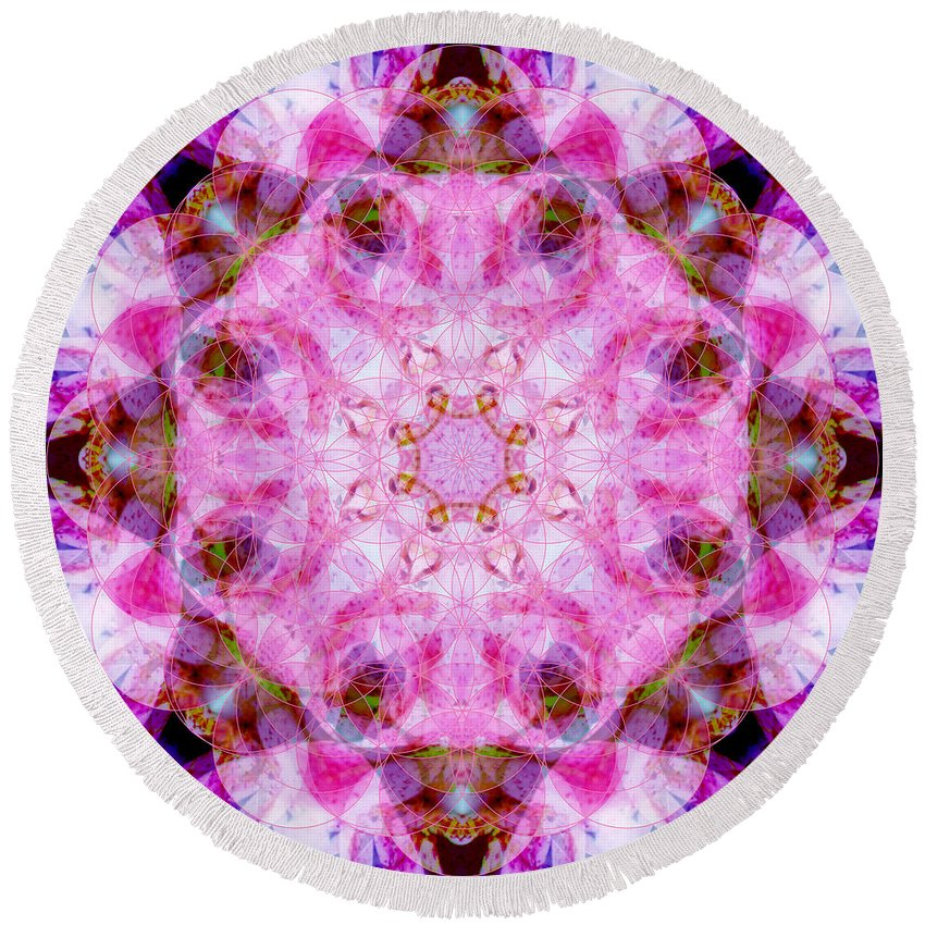 Rainbow Round Beach Towel featuring the photograph Flower Of Life Lily Mandala by Susan Bloom