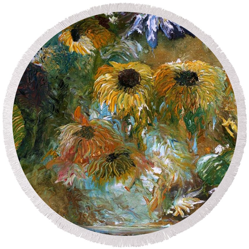 Flowers Round Beach Towel featuring the painting Flower Rain by Jack Diamond