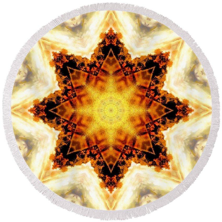 Sacredlife Mandalas Round Beach Towel featuring the photograph Flower Stars by Derek Gedney