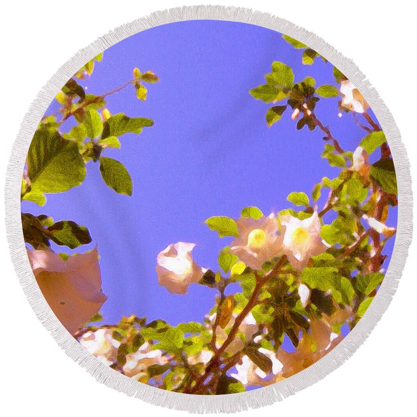 Landscapes Round Beach Towel featuring the painting Flowering Tree 2 by Amy Vangsgard