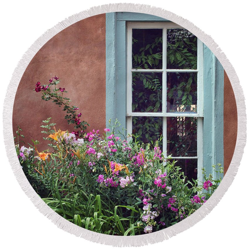 Window Round Beach Towel featuring the photograph Flowers By The Window by Nikolyn McDonald