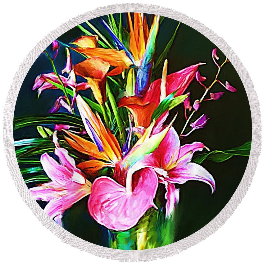 Flowers Round Beach Towel featuring the painting Flowers For You 1 by Sergio B