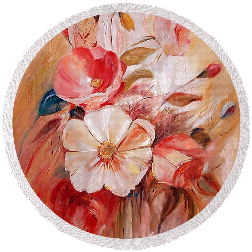 Abstract Round Beach Towel featuring the painting Flowers I by Silvana Abel