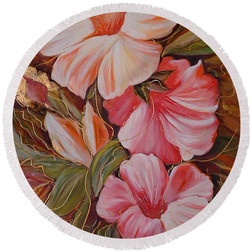 Abstract Round Beach Towel featuring the painting Flowers II by Silvana Abel