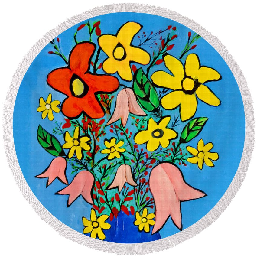 Flowers Painting Round Beach Towel featuring the painting Flowers In A Blue Vase by Bishopston Fine Art