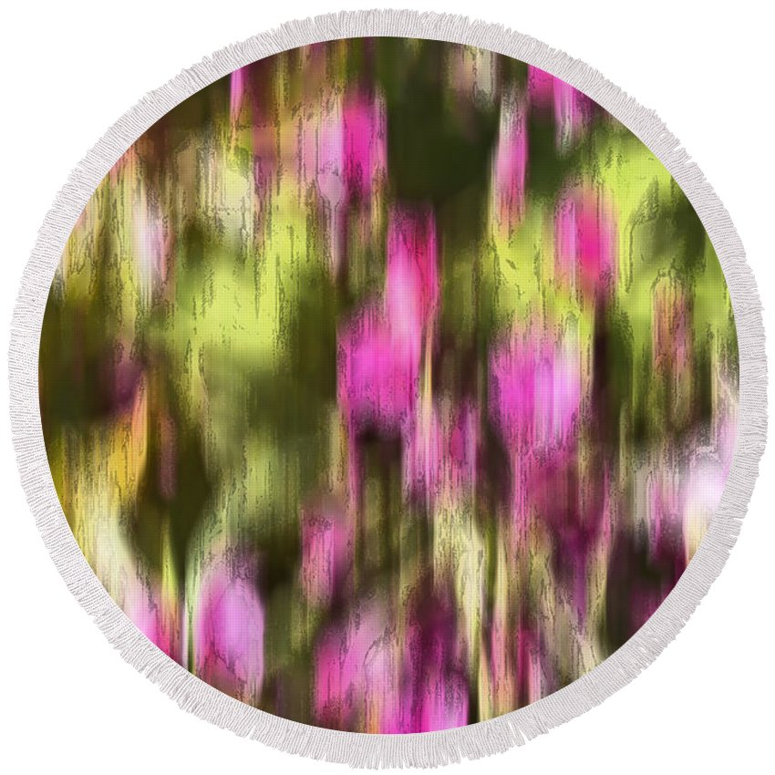 Abstract Round Beach Towel featuring the digital art Flowers In Ink by Kevin Round