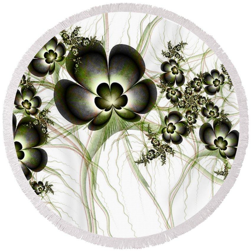 Digital Art Round Beach Towel featuring the digital art Flowers In The Antique Look by Gabiw Art