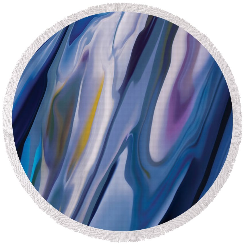 Blue Round Beach Towel featuring the digital art Flowers In The Wind by Rabi Khan