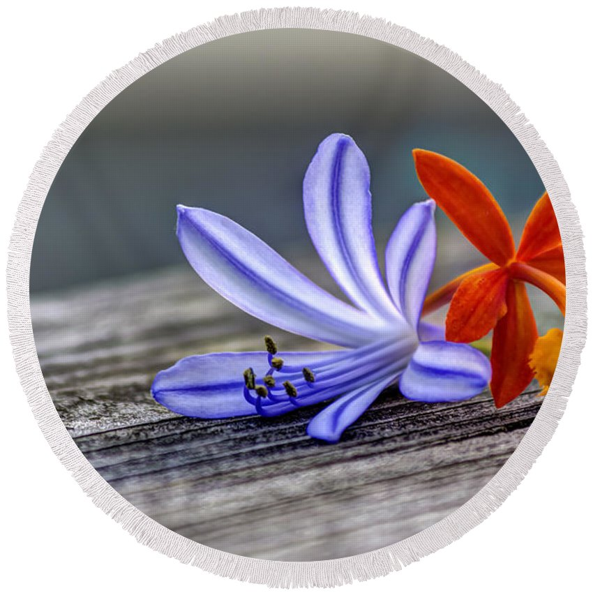 Blue Flowers Round Beach Towel featuring the photograph Flowers Of Blue And Orange by Marvin Spates