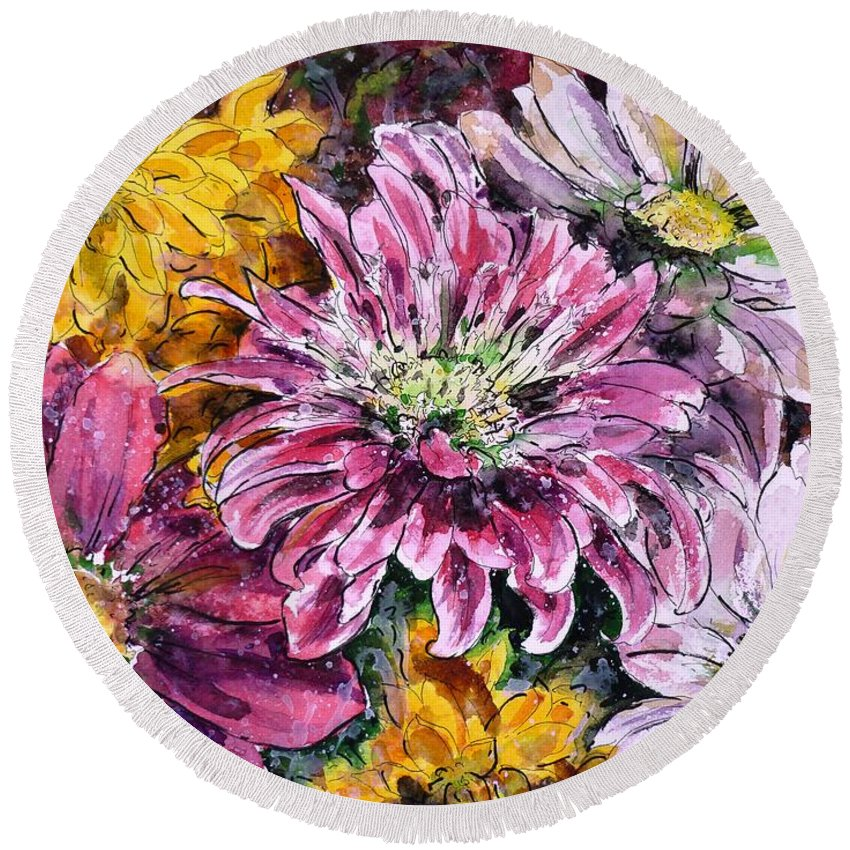 Chrysanthemums Round Beach Towel featuring the painting Flowers Of Love by Zaira Dzhaubaeva