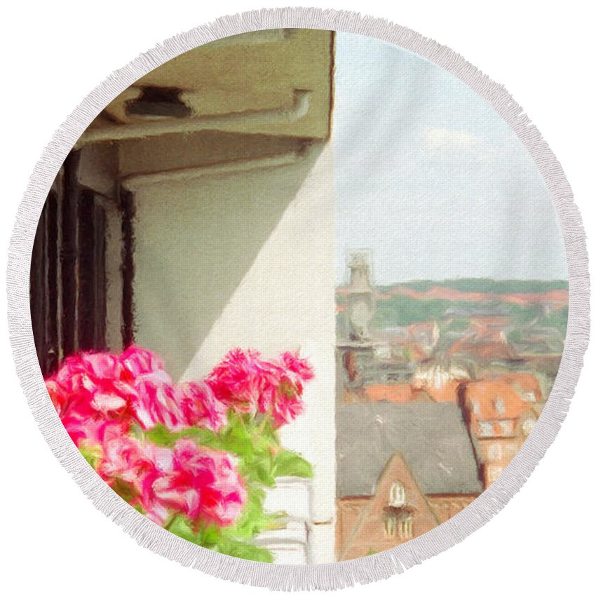 Aarhus Round Beach Towel featuring the painting Flowers On The Balcony by Jeffrey Kolker