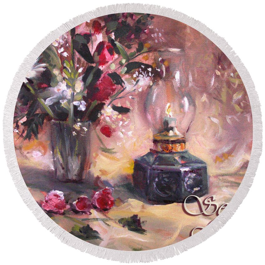 Christmas Round Beach Towel featuring the painting Flowers With Lantern Christmas Card by Nancy Griswold