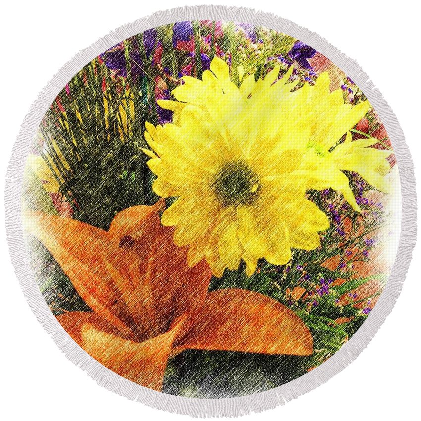 Lily Round Beach Towel featuring the photograph Flowers With Love by Luther Fine Art