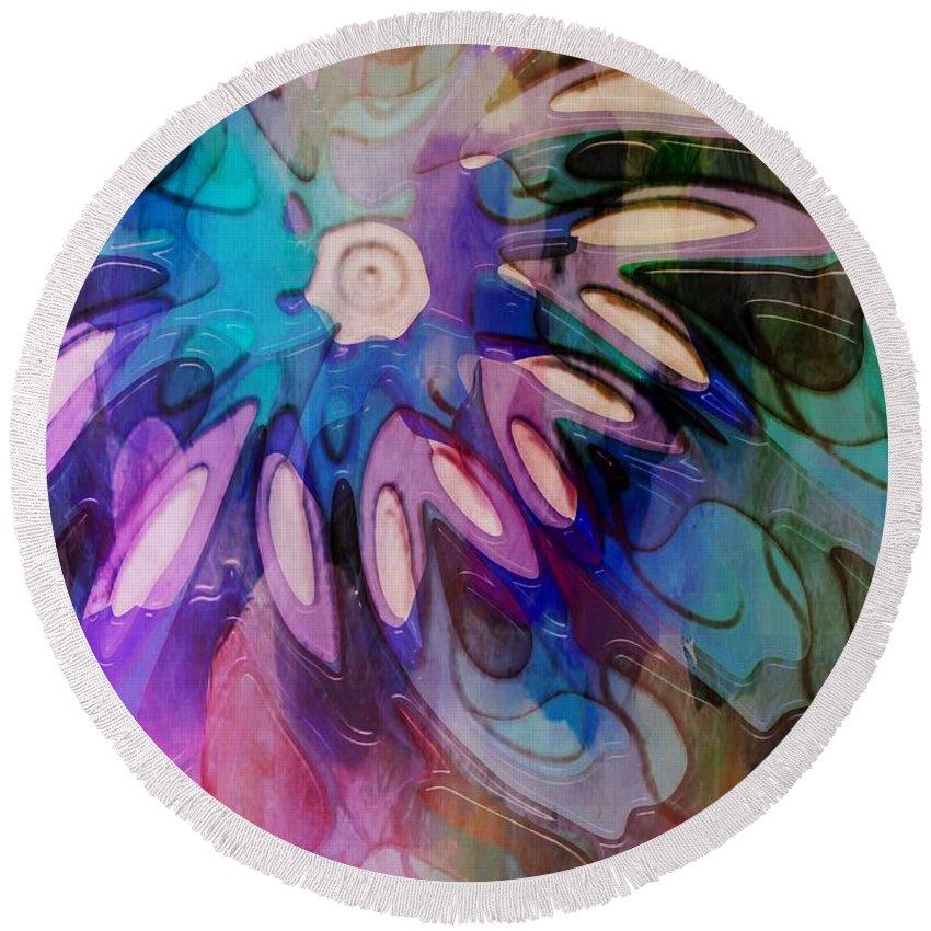 Digital Art Round Beach Towel featuring the digital art Flowery Illusion by Amanda Moore