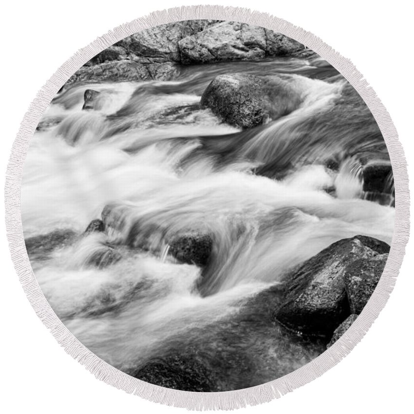 Outdoors Round Beach Towel featuring the photograph Flowing St Vrain Creek Black And White by James BO Insogna