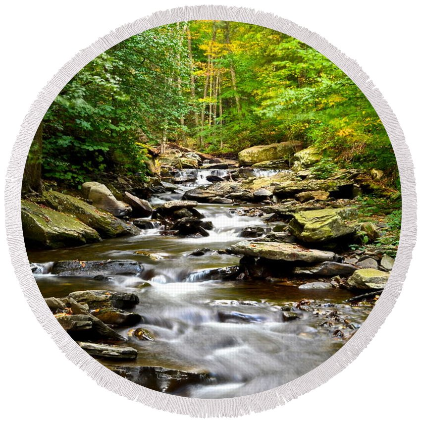Stream Round Beach Towel featuring the photograph Flowing Stream by Frozen in Time Fine Art Photography