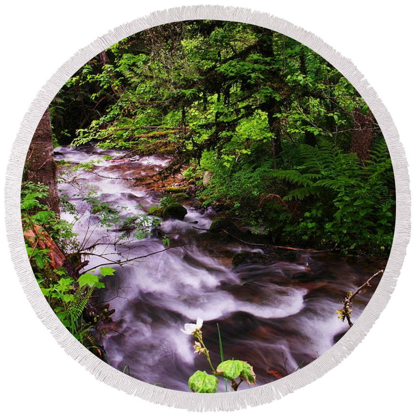 Rivers Round Beach Towel featuring the photograph Flowing Through The Forest by Jeff Swan