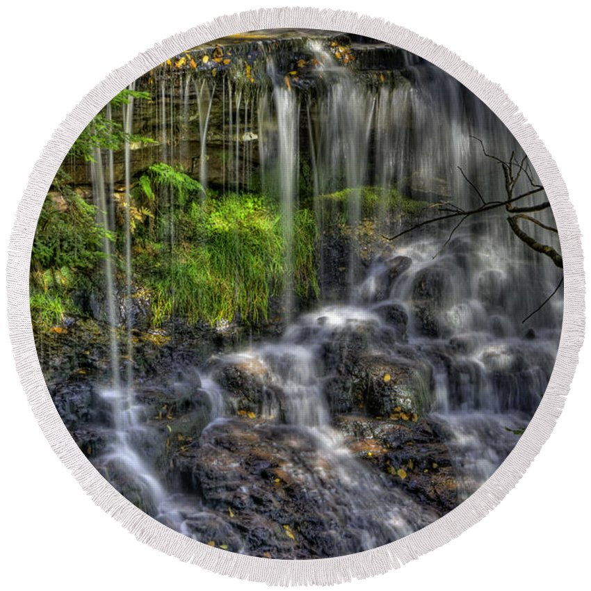 Water Round Beach Towel featuring the photograph Flowing Water by David B Kawchak Custom Classic Photography