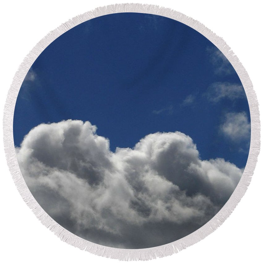 Clouds Round Beach Towel featuring the photograph Fluffy Clouds 1 by Carol Lynch