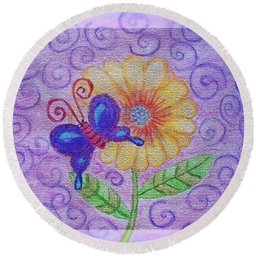 Nature Round Beach Towel featuring the mixed media Flutterby by Debbie Portwood
