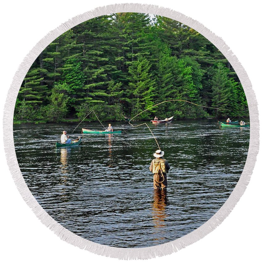 Fly Fishing Round Beach Towel featuring the photograph Fly Fishing West Penobscot River Maine by Glenn Gordon