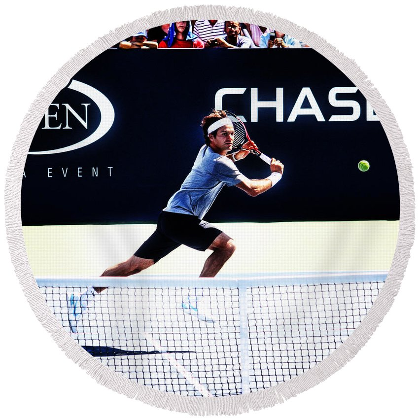 Roger Federer Round Beach Towel featuring the photograph Flying Federer by Nishanth Gopinathan