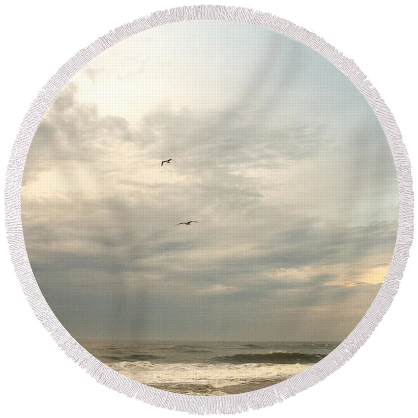 Scenic Round Beach Towel featuring the photograph Flying Home by A New Focus Photography