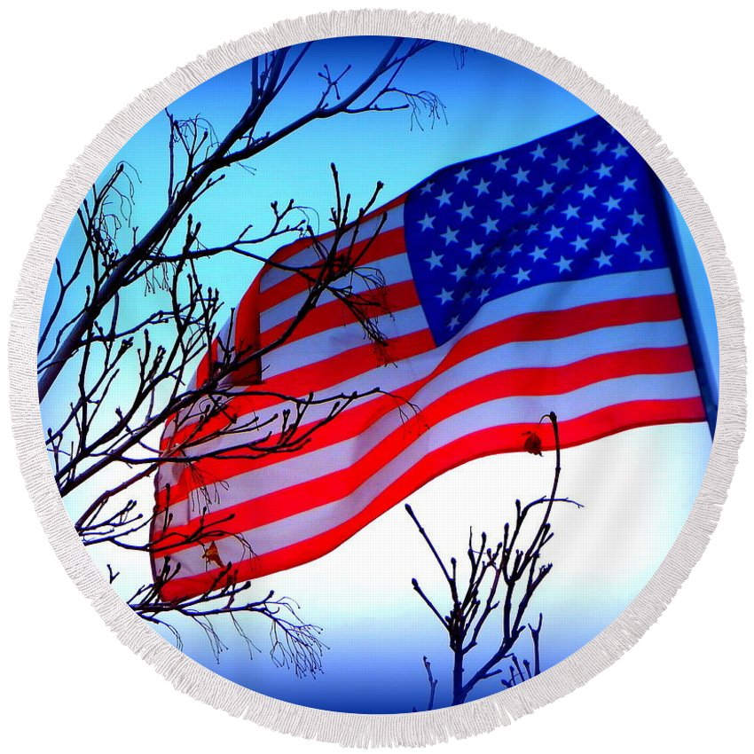 Acrylic Prints Round Beach Towel featuring the photograph Flying Ol Glory by Bobbee Rickard