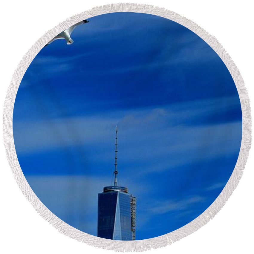 Flyover One World Trade Center Round Beach Towel featuring the photograph Flyover One World Trade Center by Dan Sproul