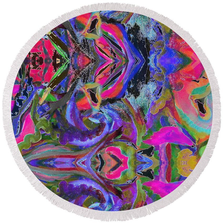 Contemporary Brilliant Colorful Mirror Patterns Round Beach Towel featuring the digital art F.m.o.a. by Expressionistart studio Priscilla Batzell