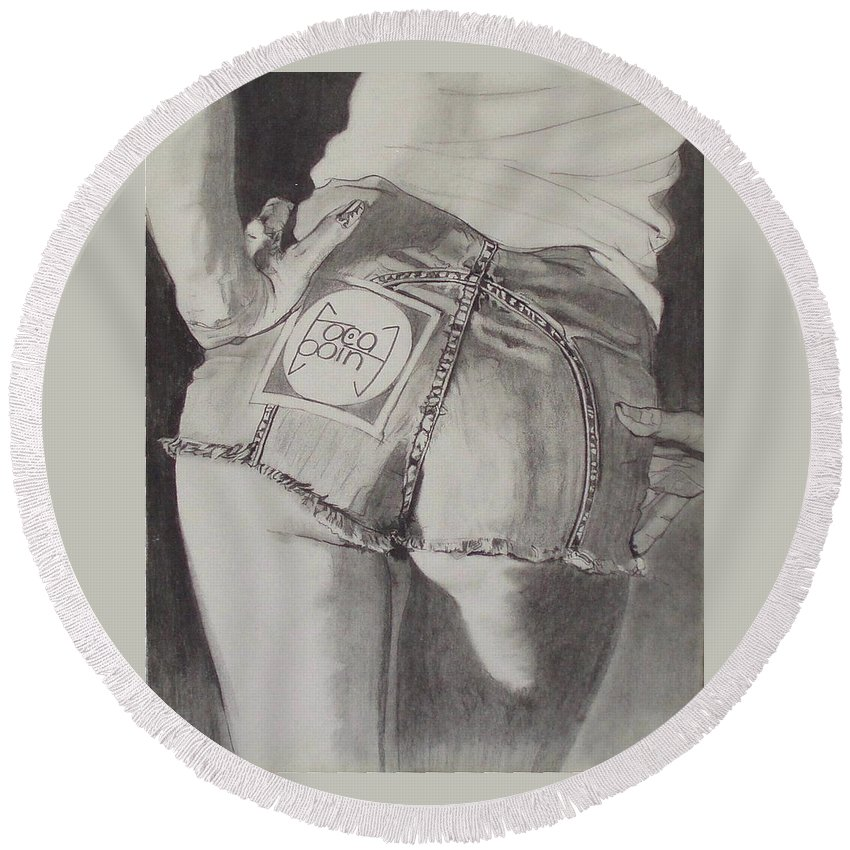 1970s;denim;dungarees;frayed;fringe;seams;cutoffs;hotpants;derierre;female;woman;t Shirt;pinup;fingers;shadow Round Beach Towel featuring the drawing Focal Point . . Or . . The Will To Live by Sean Connolly
