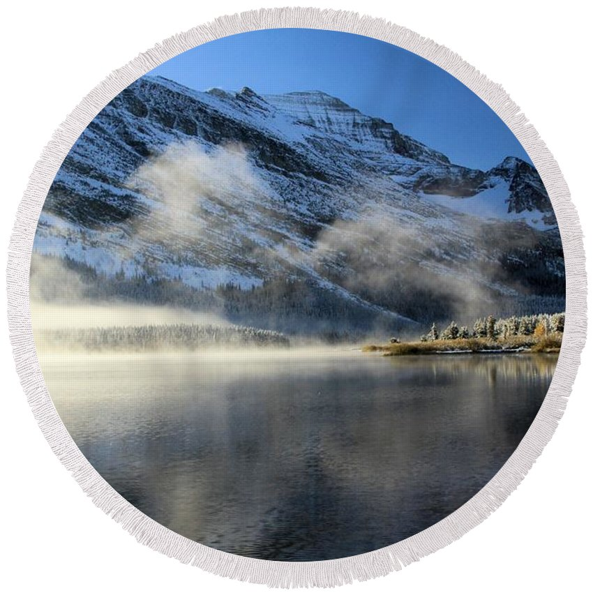 Glacier National Park Round Beach Towel featuring the photograph Fog At Swiftcurrent by Adam Jewell