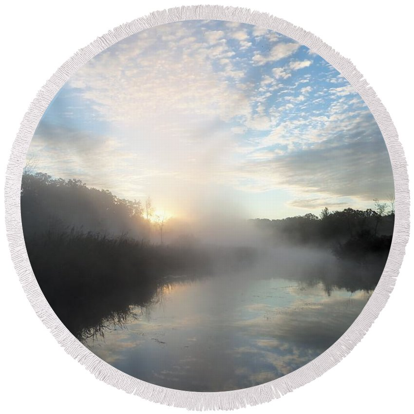 Michigan Round Beach Towel featuring the photograph Fog Covered River by Two Bridges North