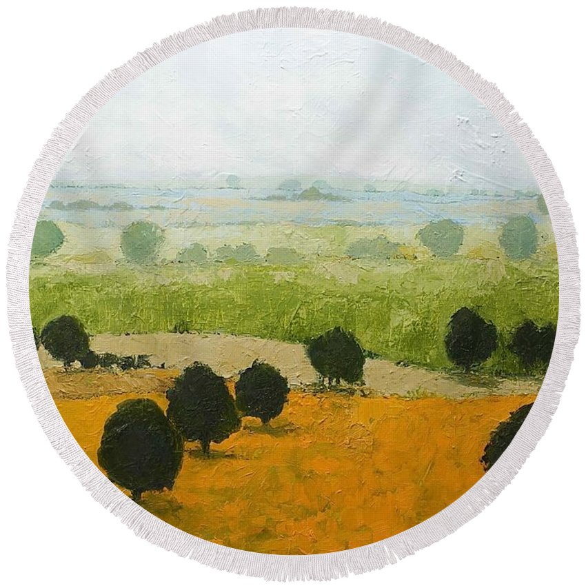 Landscape Round Beach Towel featuring the painting Fog Lifting Fast by Allan P Friedlander