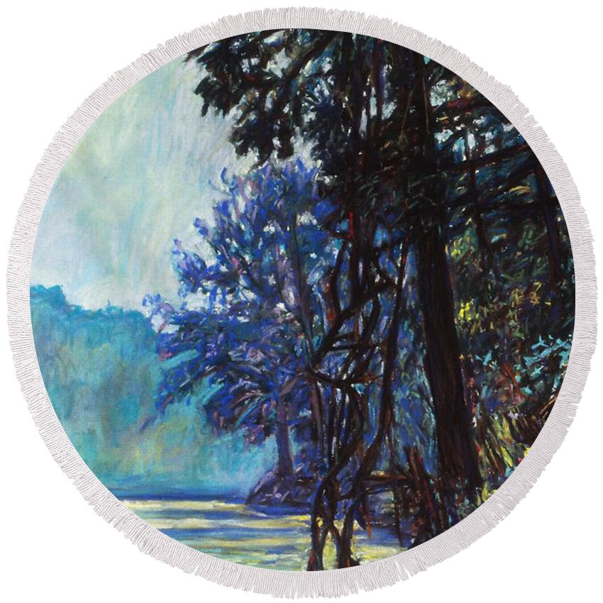 Kendall Kessler Round Beach Towel featuring the painting Fog On The New River by Kendall Kessler