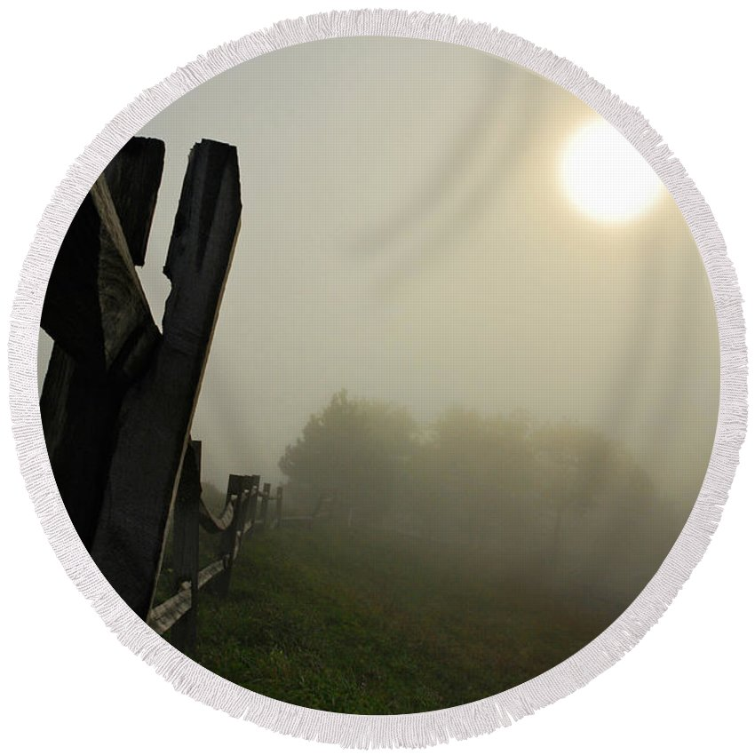 Foggy Country Road Round Beach Towel featuring the photograph Foggy Country Road by Lois Bryan