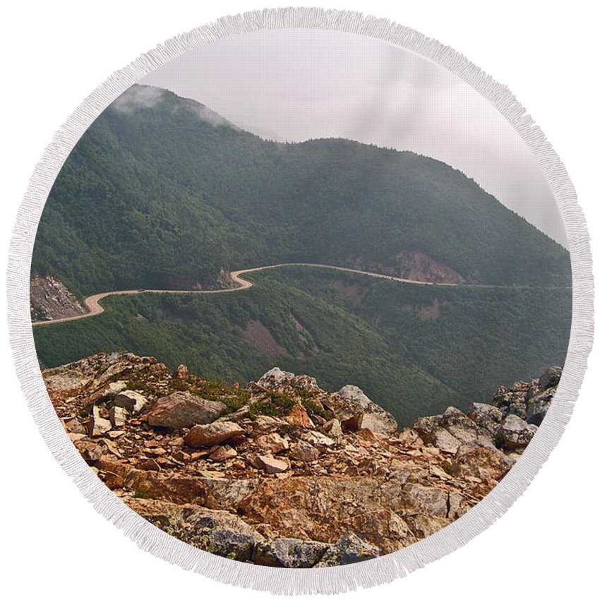 Foggy Day Road Through Cape Breton Highlands Np Round Beach Towel featuring the photograph Foggy Day Road Through Cape Breton Highlands Np-ns by Ruth Hager