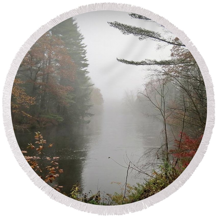 Ashuelot River Round Beach Towel featuring the photograph Foggy Fall River by MTBobbins Photography