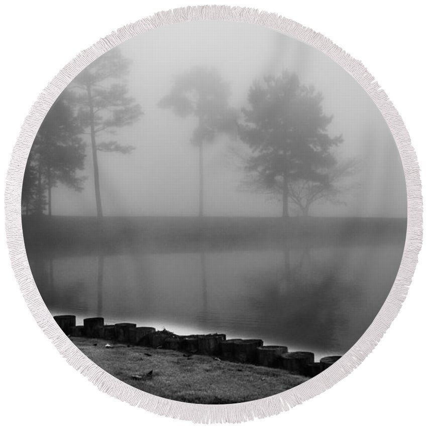Foggy Landscape Round Beach Towel featuring the photograph Foggy Landscape by Parker Cunningham