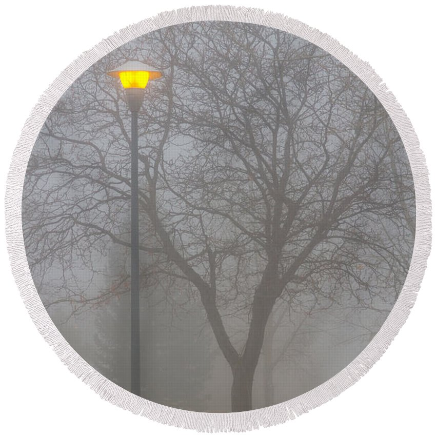 Fog Round Beach Towel featuring the photograph Foggy Morning  by James BO Insogna