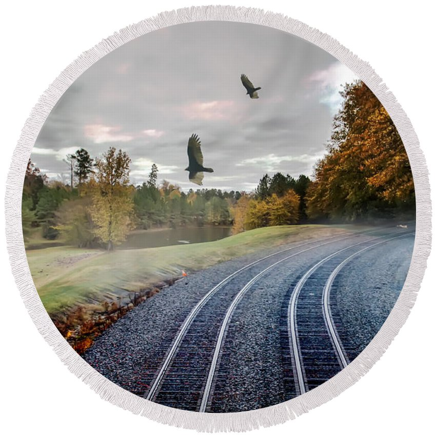 Along Round Beach Towel featuring the photograph Foggy Nature Along The Train Tracks by Alex Grichenko