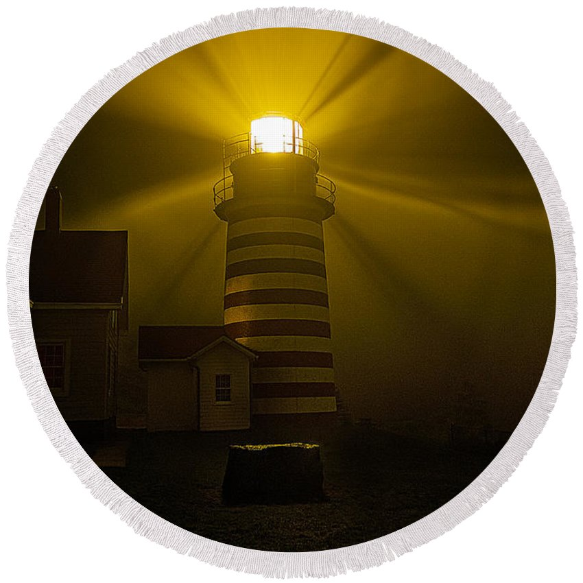West Quoddy Head Lighthouse Photos Round Beach Towel featuring the photograph Foggy Night At West Quoddy Light by Marty Saccone