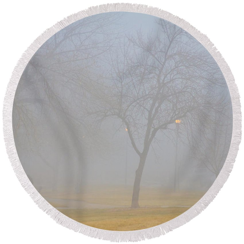 Fog Round Beach Towel featuring the photograph Foggy Park Morning by James BO Insogna